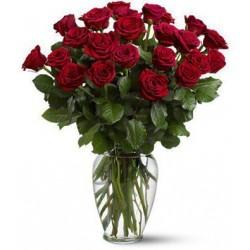 Docena de rosas con jarron